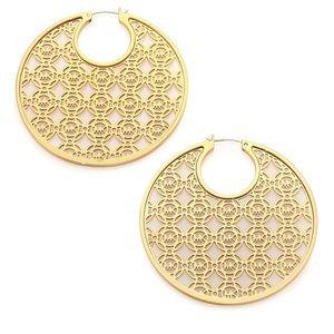 Michael Kors Large Monogram Hoop Earrings in Gold